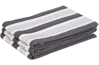 (46cm  X 70cm , Salsa Stripe - Gray) - Striped Cotton Dish Towels - Grey Cotton Hand Towels for Kitchen - Cotton Washcloths - Cotton Towel - Salsa Striped Dish Cloths - Grey Kitchen Stripe Towel Set of 3(18 X 28, Salsa Stripe - Grey)