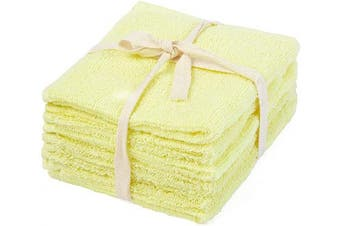 (30cm  X 30cm , Yellow - Terry Cloth (Baby Towel )) - Cotton Towels - Cotton Hand Towels - Kitchen Hand Towels - Yellow Hand Towels Cotton - 100% Cotton Kitchen Hand Towels - Absorbent Hand Towels - Yellow Dish Cloths and Towels Set of 6(12 X 12)