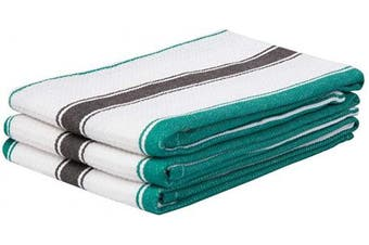 (46cm  X 70cm , Double Stripe - Green and Black) - Striped Dish Towels Cotton - Black Striped Towels - Cotton Tea Towels - Striped Kitchen Dishtowels for Cleaning, Drying, Cooking, Set of 3 (18 X 28, Double Stripe - Green and Black)