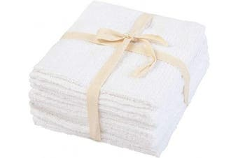 (30cm  X 30cm , White - Terry Cloth (Baby Towel )) - Cotton Hand Towel - Cotton Dish Towel - White Hand Towels - Washcloth Cotton - Cotton Hand Dish Towels - Kitchen Hand Towels - White Dish Cloth Hand Towels - Set of 6 (12 X 12, White)