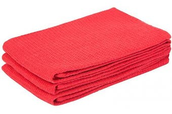 (46cm  X 70cm , Waffle Towel - Red) - Cotton Hand Towels for Kitchen - Red Dish Towels Cotton - Kitchen Hand Towels Red - Cotton Wash Clothes for Face - Cotton Wash Towels Kitchen - Red Dish Cloth Set of 3 (18 X 28, Red)