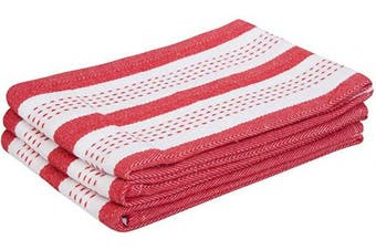 (46cm  X 70cm , Salsa Stripe - Red) - Striped Cotton Dish Towels - Cotton Tea Towels - Red Kitchen Cloth Towel - Salsa Stripe Kitchen Towels - Striped Kitchen Dishtowels for Cleaning, Set of 3 (18 X 28, Salsa Stripe - Red)