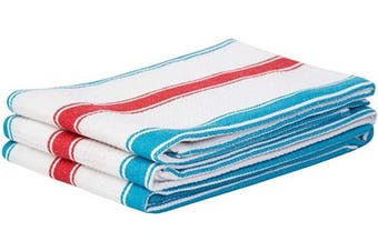 (46cm  X 70cm , Double Stripe - Blue and Red) - Cotton Towels - Striped Cotton Dish Cloths - Striped Kitchen Towels Cotton - Cotton Tea Towels Kitchen - Red Striped Hand Towels - Striped Towel Set of 3 (18 X 28, Double Stripe - Blue and red)