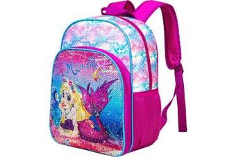 """(One Size, 14.5"""" Mermaid Backpack) - Mermaid Backpack for girls, 37cm Sequin Preschool Backpacks"""