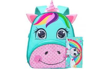 "(30cm  Backpack, 12"" Unicorn Aqua 2-6 years old(L)) - Toddler Backpack, 30cm Unicorn Sequin Preschool Bag for Girls"
