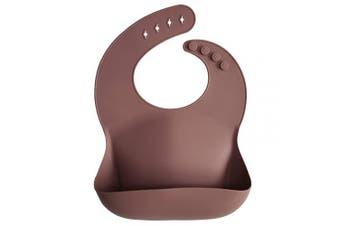 (Woodchuck) - mushie Silicone Baby Bib | Adjustable Fit Waterproof Bibs (Woodchuck)