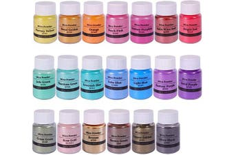 Biutee Natural Mica Powder Epoxy Pigments 20 Colours Soap Making Dyes Slime Powder Pearlescent Glitter Resin Art for Soap Making/Bath Bomb