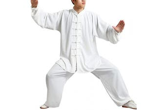 (XXL, White) - Yudesun Tai Chi Uniform Clothing - Martial Arts Sets Chinese Traditional Men Women Apparel Shaolin Kung Fu Wing Chun Taekwondo Cotton Training Clothes