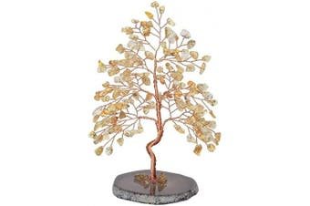 (Citrine Crystal Tree) - CrystalTears Natural Citrine Crystal Money Tree Feng Shui Crystal Tree Sculpture Figurine Healing Gemstone Tree of Life Ornament with Agate Slice Geode Stand for Good Luck Home Decoration 14cm - 16cm