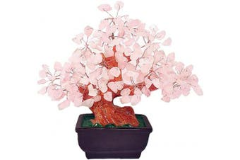 (Pink) - Colorsheng Natural Rose Quartz Crystal Money Tree Bonsai Style Decoration for Luck and Wealth (Pink)