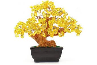 (Yellow) - Colorsheng Natural Quartz Crystal Money Tree Bonsai Style Decoration for Luck and Wealth (Yellow)