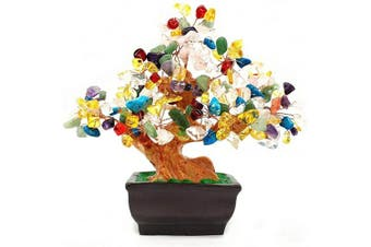 (Multicolor) - Colorsheng Natural Quartz Crystal Money Tree Bonsai Style Decoration for Luck and Wealth (Multicolor)