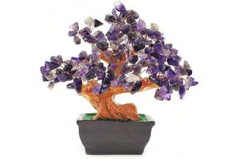 (Purple) - Colorsheng Natural Quartz Crystal Money Tree Bonsai Style Decoration for Luck and Wealth (Purple)
