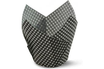 (100, Black Check) - Black Cheque Tulip Baking Cups Cupcake Liners Muffin Liners Greaseproof Paper 100