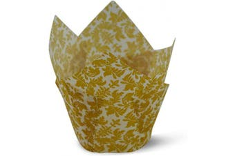(100, White Gold Leafs) - White Gold Leafs Tulip Baking Cups Cupcake Liners Muffin Liners Greaseproof Paper 100