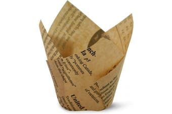 (100, Unbleached Newspaper) - Unbleached Newspaper Tulip Baking Cups Cupcake Liners Muffin Liners Greaseproof Paper 100
