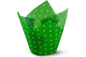 (100, Polka Green) - Polka Dot Green Tulip Baking Cups Cupcake Liners Muffin Liners Greaseproof Paper 100