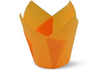 (100, Orange) - Orange Tulip Baking Cups Cupcake Liners Muffin Liners Greaseproof Paper 100