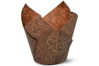 (100, Brown Gold Swirl) - Brown Gold Swirl Tulip Baking Cups Cupcake Liners Muffin Liners Greaseproof Paper 100