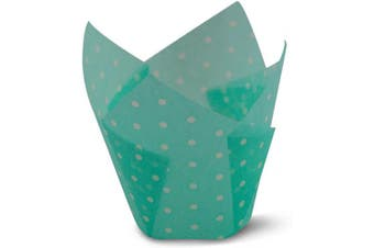 (100, Polka Light Blue) - Polka Dot Light Blue Tulip Baking Cups Cupcake Liners Muffin Liners Greaseproof Paper 100
