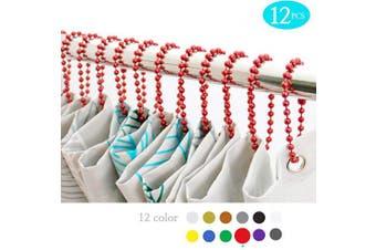 (Wine) - BallchainAge Shower Curtain Hooks, Shower Curtain Rings 12pcs, spa-Quality Look-Wine