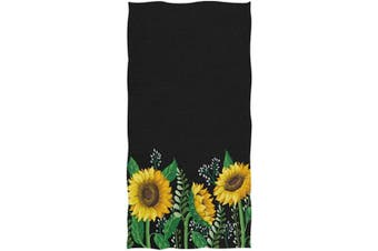 AGONA Hand Towel Boho Yellow Sunflower Floral Black Ultra Soft Absorbent Fingertip Towels Decorative Large Bath Towels Multipurpose for Bathroom Kitchen Gym Yoga Spa 80cm x 38cm