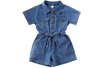(Blue, 18-24 Months) - Longfei Toddler Girl Denim Waistband Short Sleeve Bodysuit Jumpsuit Outfit Spring Summer Clothes 0-4Y