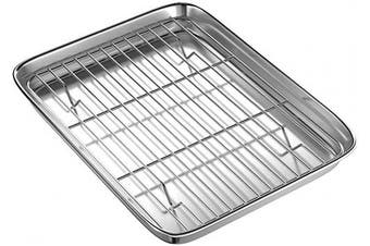 (30cm ) - Toaster Oven Tray and Rack Set, BYkooc Small Stainless Steel Baking Pan with Cooling Rack,12.4 x 24cm x 2.5cm ,Dishwasher Safe Baking Sheet, Anti-rust, Sturdy & Heavy.