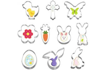 Cookie Cutter Set, 10 Moulds to Cut Out Pastry Dough, Piece-Flower, Butterfly, Chick, Carrot, Egg, Bunny, Cross Shapes and other, Stainless Steel Fondant Moulds for Holiday Party Decorations