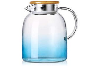(1600ML Blue) - Glass Pitcher with Bamboo Lid | Stove Safe Pitcher Iced Tea Spout Water Carafe for Hot Cold Wine Coffee Milk and Juice Beverage (1600ML Blue)