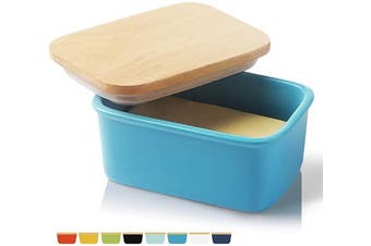 SWEEJAR Porcelain Butter Dish with Lid, Airtight Large Butter Keeper with Wooden Lid, Butter Container Perfect for 2 Sticks of Butter West or East Coast Butter(Steel Blue)
