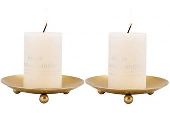 (Gold2) - Iron Plate Candle Holder, Black, Decorative Iron Pillar Candle Plate, Set of 2, 11cm D x 2cm H, Pedestal Candle Stand for LED & Wax Candles, Incense Cones, Spa (Gold2)