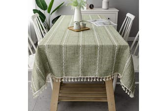 (140cm  x 220cm , Green) - OstepDecor Tablecloth, Rectangle Table Cloth for 1.2m Table, Cotton Linen Tablecloths, Table Cover for Kitchen Dinning Room Party, Rectangle/Oblong, 140cm x 220cm , 6-8 Seats, Green