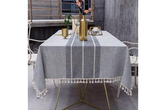 (140cm  x 220cm , Gray) - OstepDecor Stitching Tassel Tablecloth, Cotton Linen Table Cloths Rectangle, Table Cover for Kitchen Dinning Room Party, Rectangle/Oblong, 140cm x 220cm , 6-8 Seats, Grey
