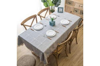 (140cm  x 180cm , Grey) - OstepDecor Stitching Tassel Tablecloth, Cotton Linen Table Cloths Rectangle, Table Cover for Kitchen Dinning Room Party, Rectangle/Oblong, 140cm x 180cm , 4-6 Seats, Grey
