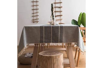 (Square, 140cm  x 140cm , Gray) - smiry Embroidery Tassel Tablecloth - Cotton Linen Dust-Proof Table Cover for Kitchen Dining Room Party Home Tabletop Decoration (Square, 140cm x 140cm , Grey)