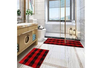 (50cm  x 160cm +50cm  x 80cm , Black&red) - Carvapet 2 Pieces Buffalo Plaid Cheque Rug Set Water Absorb Microfiber Non-Slip Kitchen Rug Bathroom Mat Chequered Doormat Carpet for Laundry (50cm x 160cm +50cm x 80cm , Black & Red)
