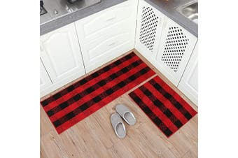 (43cm  x 120cm +43cm  x 60cm , Black&red) - Carvapet 2 Pieces Buffalo Plaid Cheque Rug Set Water Absorb Microfiber Non-Slip Kitchen Rug Bathroom Mat Chequered Doormat Carpet for Laundry (43cm x 120cm +43cm x 60cm , Black & Red)