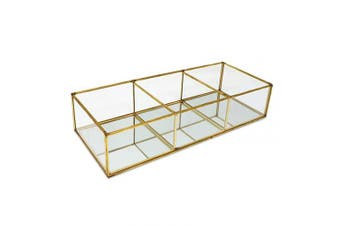 """Isaac Jacobs 3-Compartment Vintage Style Brass and Glass Organiser (13"""" L x 13cm W x 7cm H), Multi-Sectional Tray & Storage Solution with Mirror Base, for Makeup & More, Bathroom, Kitchen, Office"""