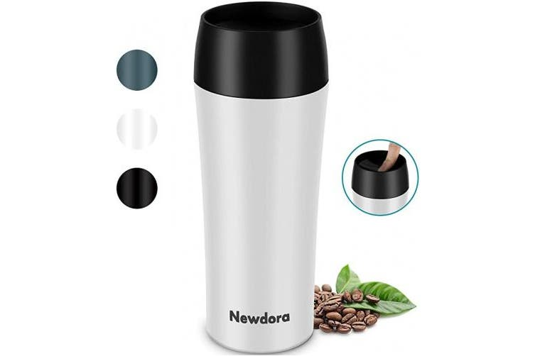 Newdora Coffee Travel Mug Leakproof 380ml, Vacuum Insulated Stainless Steel Travel Coffee Cup, On The Go Reusable Water Bottle, For Hot Drinks 6H & Cold 10H, Lightweight, White
