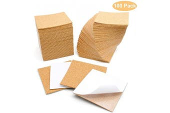 Cork Sheets Self-Adhesive 10cm x 10cm for DIY Coasters, Cork Board Squares, Cork Tiles, Cork Mat, Mini Wall Cork Board with Strong Adhesive-Backed (100)