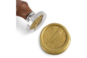 Mceal Wax Seal Stamp, Silver Brass Head with Wooden Handle, Wheat Bumber Harvest