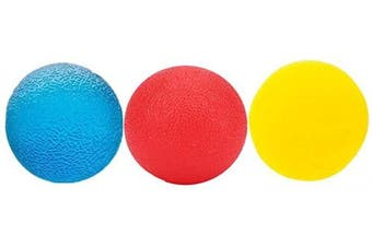 3pcs Stress Relief Ball Multiple Resistance Therapy Exercise Gel Squeeze Balls Kits for Hand Finger Wrist Muscles Arthritis Grip Exerciser Strengthening