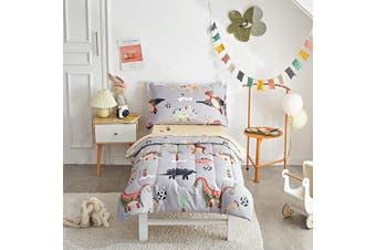 (4 Piece Toddler Bedding Set, Gray Dinosaurs) - Uozzi Bedding Unicorn 4 Piece Grey Dinosaurs Toddler Bedding Set with Colourful Dinos Boys Bed Comforter Sheet Set