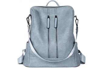 (Two-toned Blue) - CLUCI Women Backpack Purse Leather Fashion Travel Casual Detachable Ladies Shoulder Bag