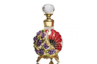 (Red) - Waltz & F Butterfly and Rose Jewelled Vintage Perfume Bottle Empty Refillable Essential Oil Bottle 25ml (Red)