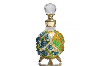 (Green) - Waltz & F Butterfly and Rose Jewelled Vintage Perfume Bottle Empty Refillable Essential Oil Bottle 25ml (Green)