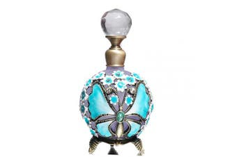 (Blue) - Waltz & F Butterfly and Rose Jewelled Vintage Perfume Bottle Empty Refillable Essential Oil Bottle 25ml (Blue)