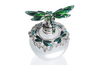 (Green Dragonfly) - Waltz & F Jewelled Capped Vintage Perfume Bottle Empty Refillable Essential Oil Bottle 40ml (Green Dragonfly)