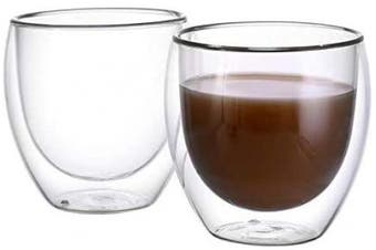 (8.5OZ/250ML) - CnGlass Double Wall Glasses Espresso Cups 250ml,Insulated Glass Coffee Cup Set of 2 Clear